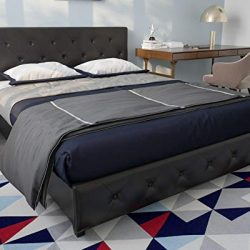 DHP Dakota Upholstered Faux Leather Platform Bed with Wooden Slat Support