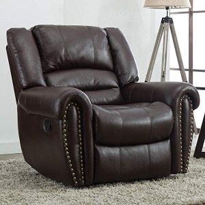 Oversized Leather Cover Recliner Nailhead Lounge Chair for Living Room
